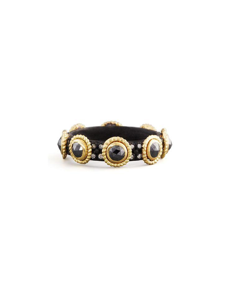 Midnight Rose-Cut Black Diamond Band Ring, Size: 7, GOLD - Armenta