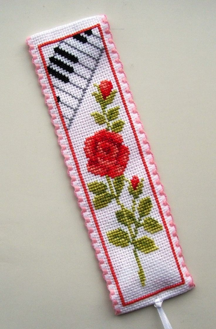 Vervaco Red Rose & Keyboard bookmark.
