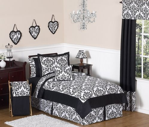 Black and White Isabella Girls Childrens and Teen Bedding - 4 pc Twin Set - Click to enlarge