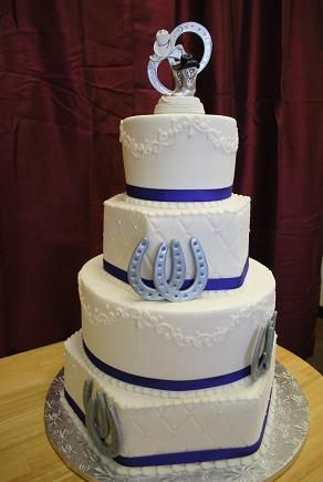 cute blue country wedding cake pictures | Horseshoe Barbwire Wedding Cake Creative Cakes By Roxanne