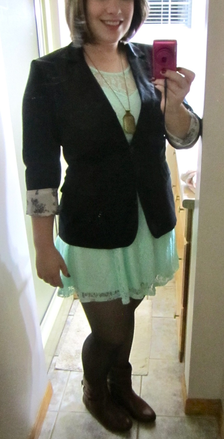 Who says you cannot wear dresses in the winter? Pair a cute dress with tights and boots and you have a great look for the more mild winter days! Brown leather boots - $ 24.00 (Aldo), Black nylons - $ 2.00 (Dollarama), Black blazer with floral cuffs - $ 15.00 (H), Mint lace dress - $ 15.00 (Stitches), Necklace - $ 3/10 (Ardenes). Total Look: $59.33