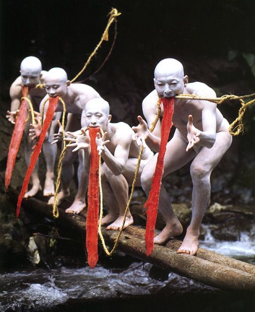 Butoh, Dance of the Dark Soul,It typically involves playful and grotesque imagery, taboo topics, extreme or absurd environments, and is traditionally performed in white body makeup with slow hyper-controlled motion, with or without an audience.