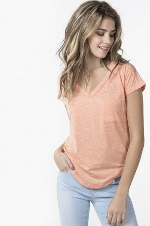 DEEP V SLOUCH POCKET TEE WITH EMBROIDERY OPEN BACK