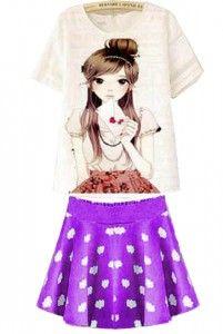 Charming Set Bahan: Atasan Oblong & Rok Pinggang Karet, Bahan Kaos Bangkok Size: Lebar/panjang atasan: 42/57cm, rok: 30/45cm Kode Produk: R2674 Harga: Rp. 58.000