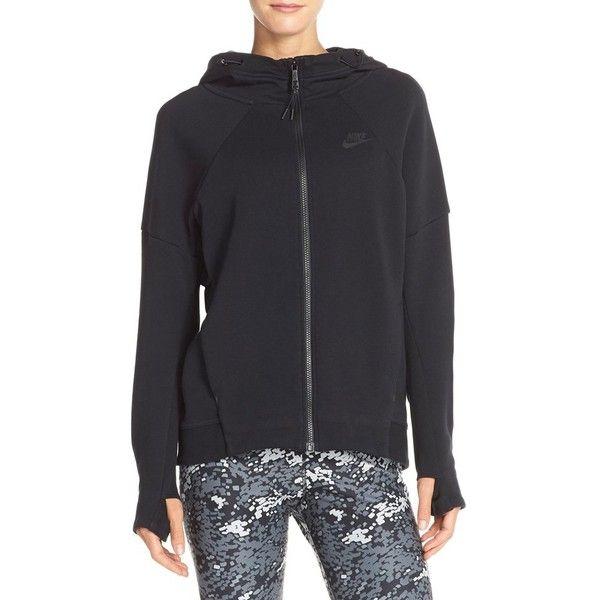 Nike Tech Fleece Hoodie ($120) ❤ liked on Polyvore featuring tops, hoodies, lined hooded sweatshirt, fleece lined hoodies, lightweight hoodies, fleece hoodies and zip front hooded sweatshirt