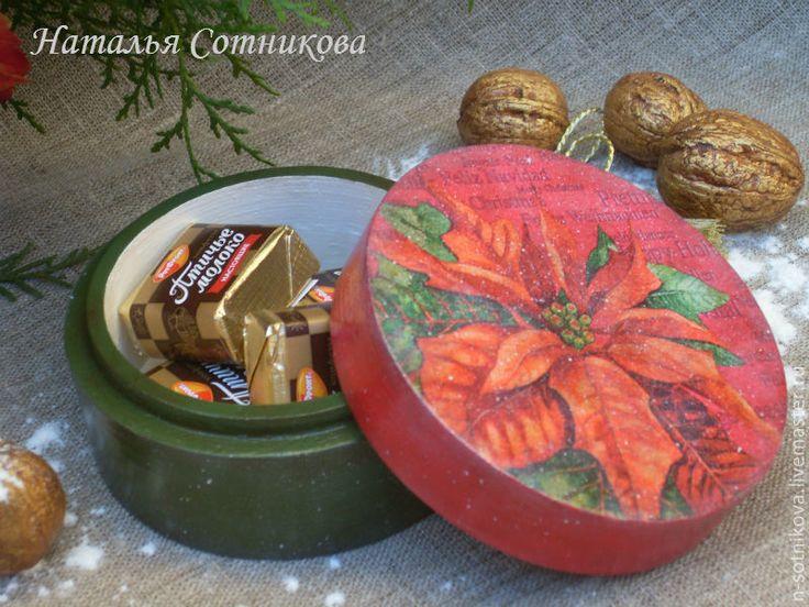 """Купить Бонбоньерка """"Пуансеттия"""" - бонбоньерка, Новый Год, подарок, сувенир, шкатулка, упаковка для подарка, пуансеттия"""