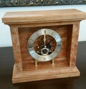 Handmade mantel clock made from Curly Cherry, and finished with linseed oil and shellac.  AmpersandWoodWorks.com