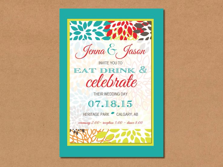 Check out this bright and springy wedding invitation from Bliss Invitations and Design. www.blissinvitationdesign.com