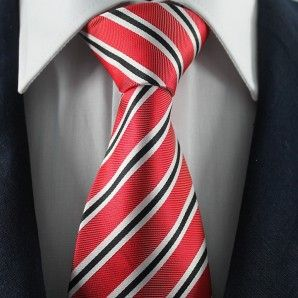 Red & Black Striped Neckties / Formal Business Neckties.