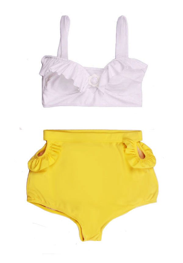 White Top and Yellow Cut out Cut-out Vintage Retro High Waist Waisted Rise Shorts Bottom  Swim Bikini set Swimsuit Swimwear Bathing suit S M by venderstore on Etsy https://www.etsy.com/listing/199841731/white-top-and-yellow-cut-out-cut-out