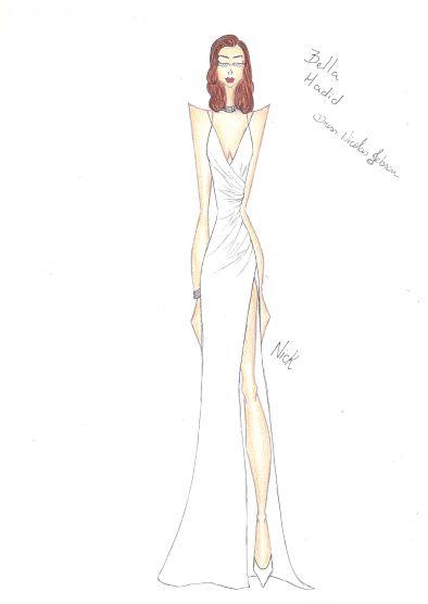 Bella Hadid wearing Nicolas Jebran