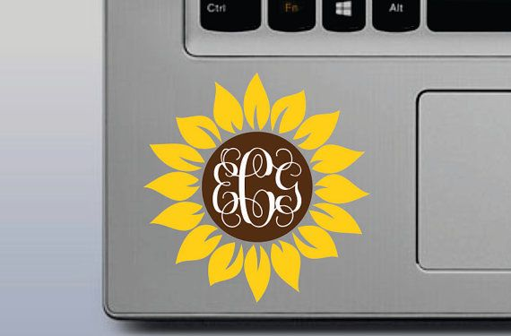 SUNFLOWER MONOGRAM DECAL 3 Colors Monogram by Designs4evershop