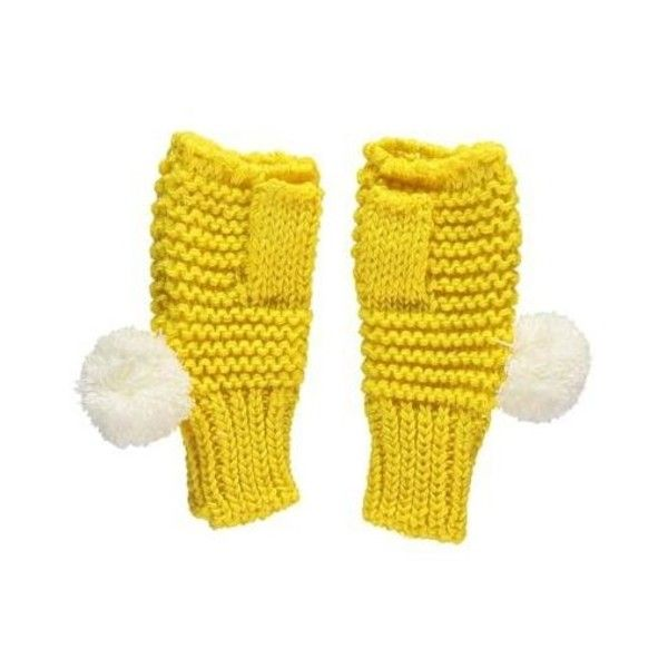 Yellow Chunky Knit Fingerless Gloves ($22) ❤ liked on Polyvore featuring accessories, gloves, chunky knit gloves, yellow gloves, yellow fingerless gloves, fingerless gloves and pom pom gloves