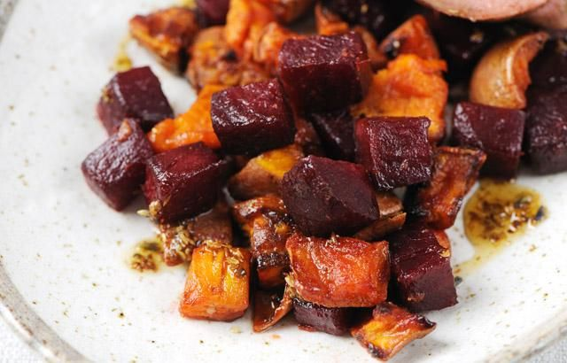 James Sommerins roast vegetable recipe with beetroot and sweet potato is elegant, comforting and can be served with a range of mains. Try it with duck, chicken or quail