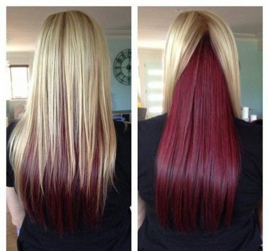 blonde hair with red underneath or funky color on to or on bottom!!!