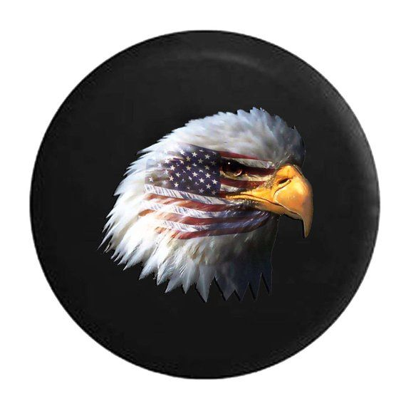 Spare Tire Cover Waving American Flag And Bald Eagle Jeep Tire