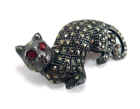 Vintage Spooky Cat with Ruby Red Eyes & by baileysbizarre on Etsy, $44.95