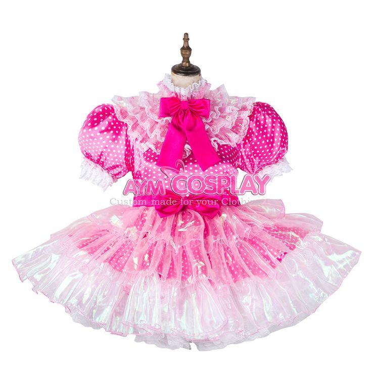 french sissy maid dress polka dots  satin lockable Unisex Tailor-made[G2126]    eBay