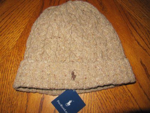 NWT Mens Polo Ralph Lauren BROWN Rope TAN Knit Beanie Hat Ski Cap Merino  Wool  d5638f67f4a6