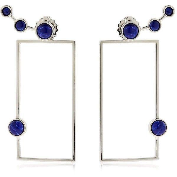 Eshvi Women Lava Sodalite Geometric Earrings (£190) ❤ liked on Polyvore featuring jewelry, earrings, geometric earrings, nickel free jewelry, white pendant, geometric jewelry and nickel free earrings