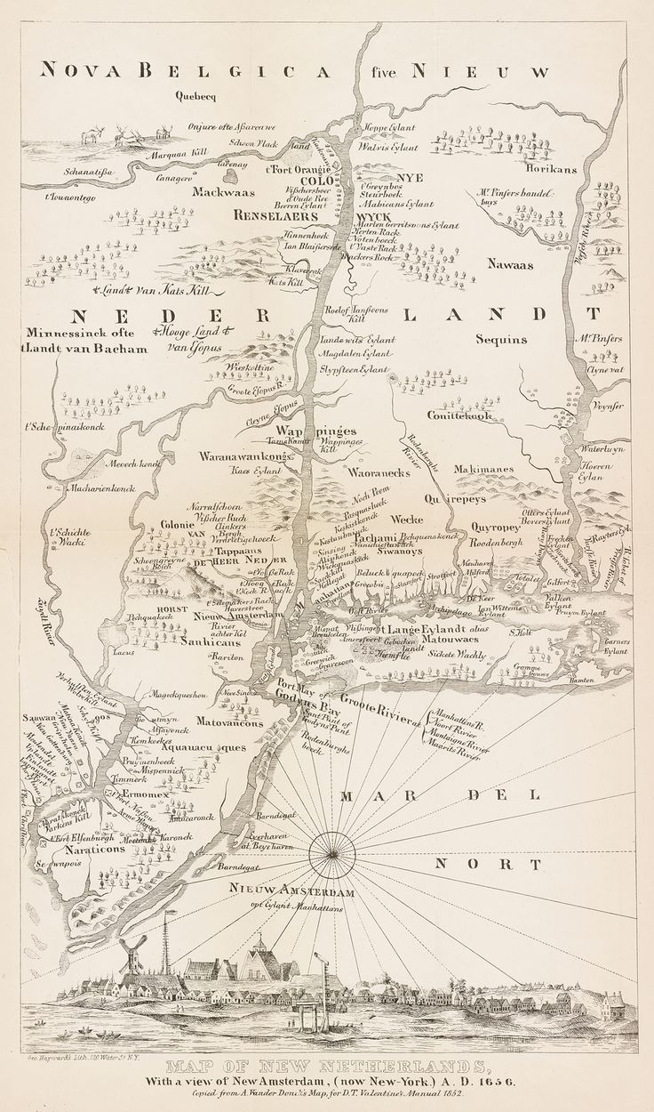 Map of New Netherlands, with a view of New Amsterdam, (now New-York) A.D. 1656