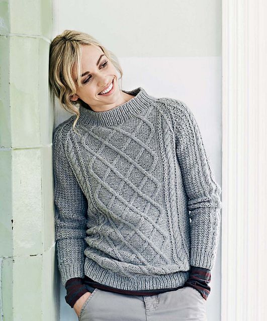Lovely long cable patterns embellish a classic raglan worked in a wool tweed yarn. The design can be worked in two ways: a slightly longer and looser sweater shown in gray or the shorter, more fitted version in yellow.