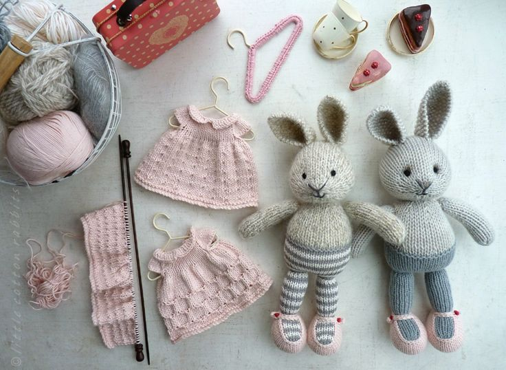 SO cute! Knitted rabbits and their wardrobes. Links to patterns are on the page, to the right.