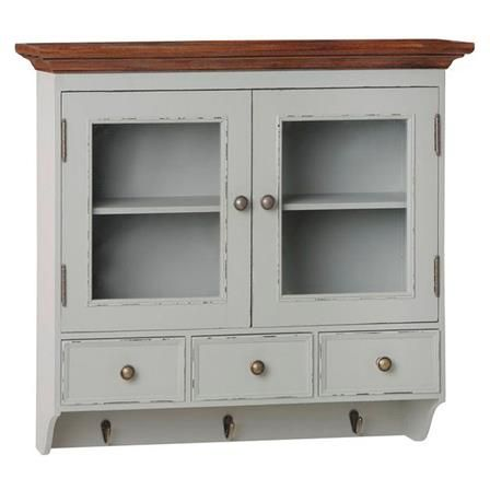 lyon grey wall mounted display cabinet with hooks and drawers