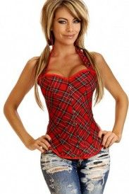 Corset con estampado escoses. Contamos con el catálogo de corsets online más completo del mercado. Este corset tiene un estilo casual y es perfecto para combinar con jeans.