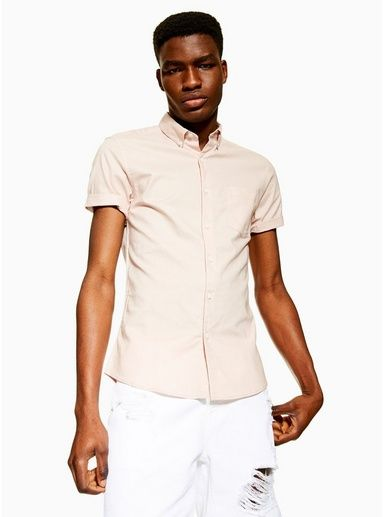 Mens Dusky Pink Stretch Skinny Oxford Shirt