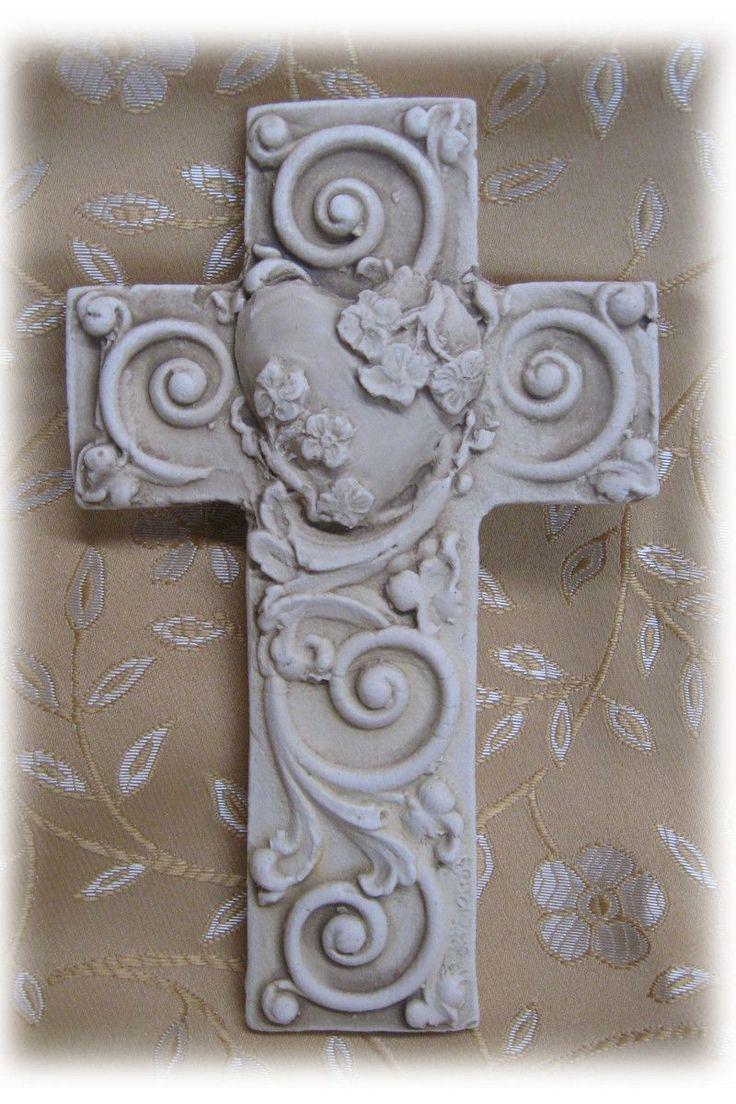 Besides cross clip art wall decor decorative wood cross decorative - Petite Stone Cross Flowered Heart Antique