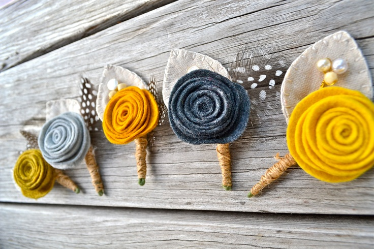 Set of 5 Boutonnieres with Felt Rose   Custom by roundtherosies, $66.00