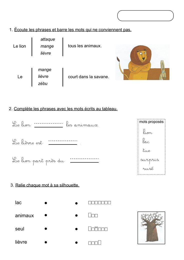 Croque lignes - Exercices de lecture. Unité 2 - Le lion et ...