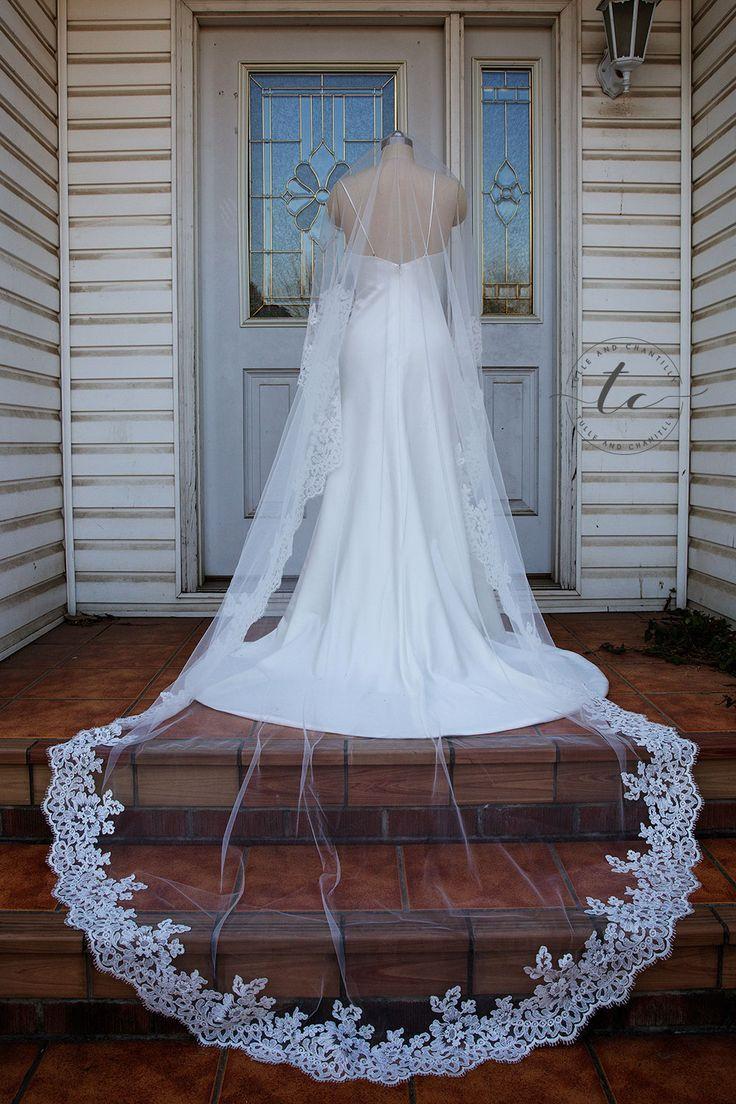 Long Cathedral Lace Veil Designer Bride Veil Wide Lace Veil Dramatic Veil Flower Veil Bridal Accessories TWAVE061