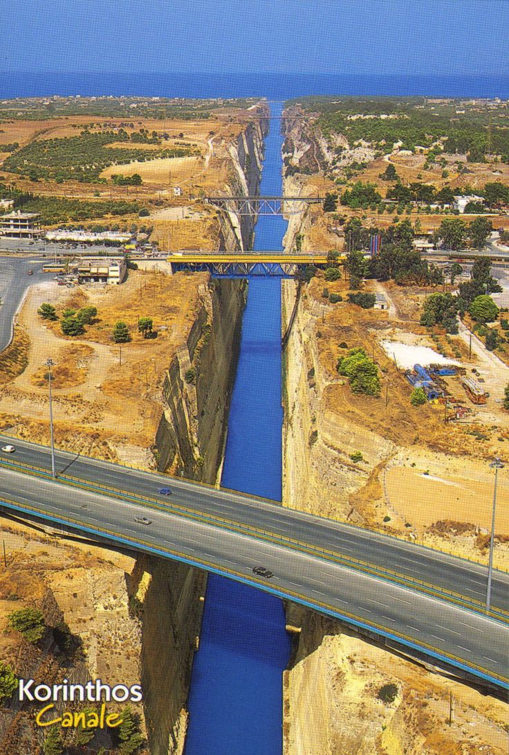 The Corinth Canal is a canal that connects the Gulf of Corinth with the Saronic Gulf in the Aegean Sea. It cuts through the narrow Isthmus of Corinth and separates the Peloponnese from the Greek mainland, thus effectively making the former peninsula an island. The builders dug the canal through the Isthmus at sea level; no locks are employed. It is (4 mi) in length and only (70 ft) wide at its base, making it impassable for most modern ships. It now has little economic importance.  Greece
