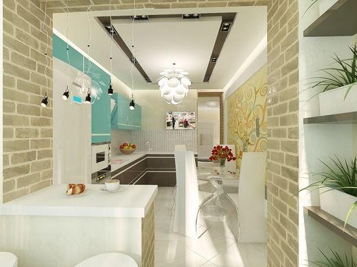 Кухня и холл в 1-комнатной квартире (ЖК Бородино). Кухня