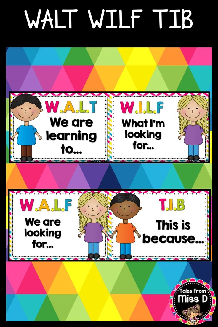 Display your WALT WILF TIB learning objectives with this bright and colourful pack! Includes; 1) Header 2) We are learning to... 3) What I'm looking for... 4) We are looking for... (as an alternative to I'm) 5) This is because... © Tales From Miss D