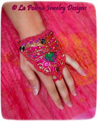 MAHARANI Sari silk cuff, made to order, Neon pink, hand beaded embroidered jewelry, Bollywood, Boho, gyspy, Green, Gold, Bellydance