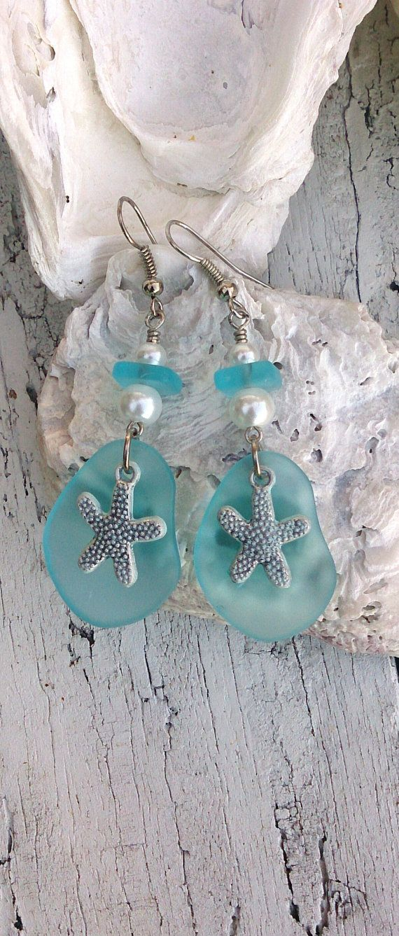 Aqua Sea Glass Starfish Earrings Beach Jewelry by SecretStashBoutique