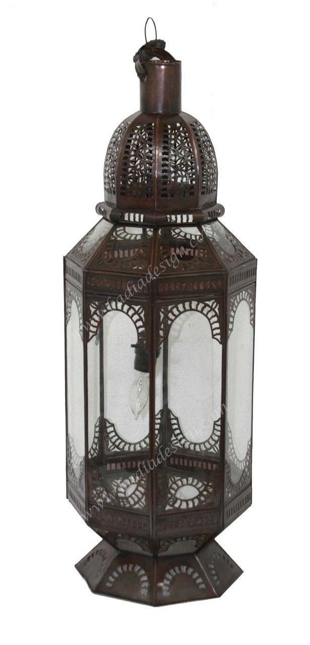 Large Floor Lamp with Clear Glass - LIG291, $395.00, floor lamp, Moroccan floor lamp, lamp, lighting, clear glass lamp (http://www.badiadesign.com/moroccan-floor-lighting-lig291/)