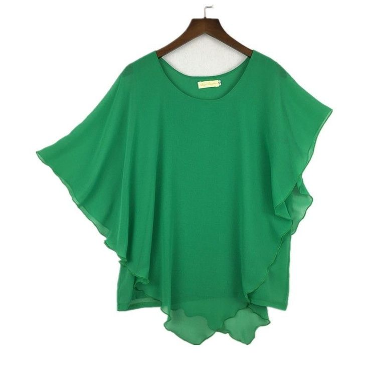 Plus size S-6XL Ladies Chiffon Blouses Batwing Asymmetric Sleeves Green Shirt #Unbranded #Blouse #Casual
