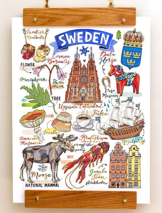 Sweden Print, National symbols, Sverige, illustration, moose, dala horse, vikings, Stockholm, fika, toadstools, Uppsala