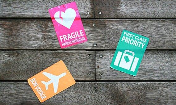 carrier, ruggage sticker. Fragile, Priority, Bon Voyage