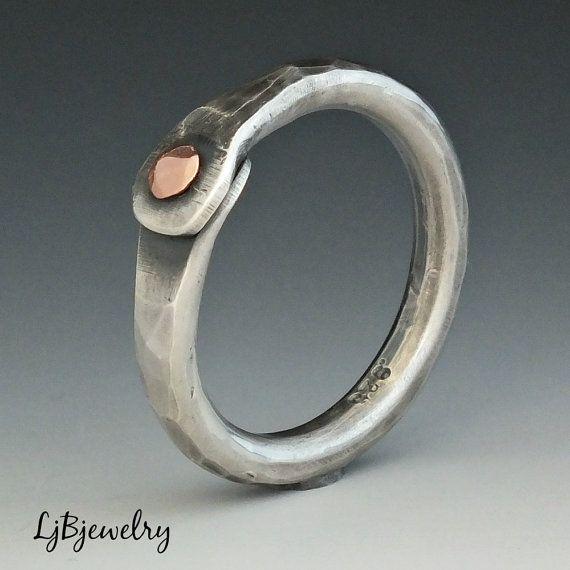 Thumb Ring Silver Thumb Ring Silver Ring Mixed Metal by LjBjewelry