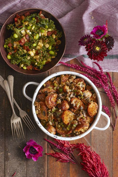Buttery croissants are just begging to be part of your Thanksgiving spread, so throw them into this Croissant Mushroom Stuffing to get your fix. Light, flaky, delicious —what more could you ask for on Thanksgiving day? Click through for the recipe and more stuffing recipes for Thanksgiving.