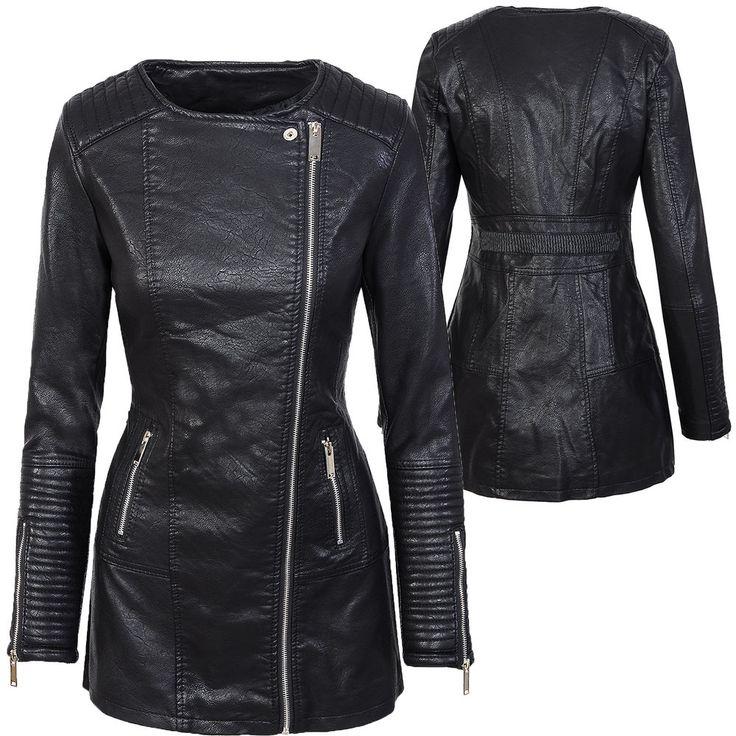 Damen Mantel Kunstledermantel Bikerjacke Übergangsjacke Schwarz D-303