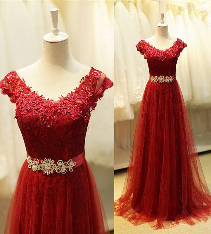 burgundy prom dress , prom dress long, evening dress long , long party dress, lace prom dress, lace evening dress, custom make occasssion prom dress on www.babyonlinedress.com