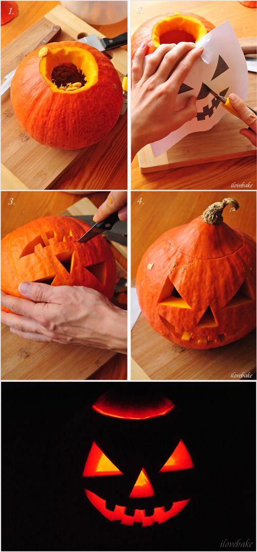 Halloween diy - pumpkin candle http://ilovebake.pl/2014/10/28/jak-zrobic-lampion-z-dyni-na-halloween-szablon-do-wydruku/