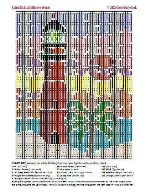 Longstitch lighthouse scenes