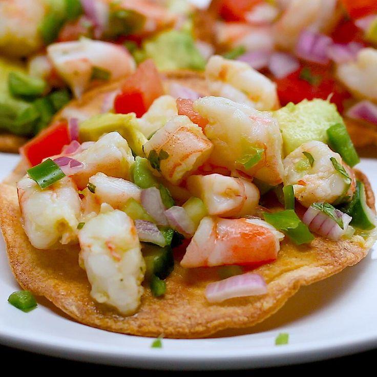 Shrimp & Avocado Tostadas by Tasty